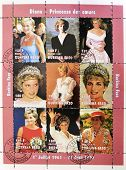 BURKINA FASO - CIRCA 1997: A stamp printed in Burkina Faso shows different images of Diana of Gales