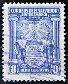 EL SALVADOR - CIRCA 1950: A stamp printed in El Salvador commemorate the military coup of December