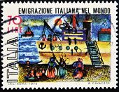 ITALY - CIRCA 1975: A stamp printed in Italy which refers to the Italian emigration in the world