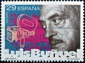 SPAIN - CIRCA 1994: A stamp printed in Spain shows Luis Buñuel circa 1994
