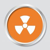 picture of radioactive  - White vector radioactivity sign on orange button - JPG