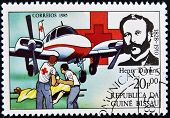 GUINEA BISSAU - CIRCA 1985: A stamp printed in Guinea Bissau shows Henry Dunant