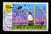 NETHERLANDS - CIRCA 1998: A stamp printed in Netherlands showing a soccer goalie cartoon circa 1998