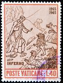 VATICAN - CIRCA 1965: A stamp printed in Vatican dedicated to Anniversary of Birth of Dante