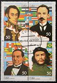 CUBA - CIRCA 1993: A stamp printed in Cuba shows historical figures of Latin American integration