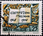ITALY - CIRCA 1958: A stamp printed in Italy shows the Italian constitution circa 1958