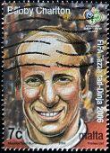 MALTA - CIRCA 2006: stamp printed by Malta portrait Bobby Charlton circa 2006.