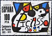 stamp printed in Spain commemorating the centenary of the birth of the painter  Pablo Picasso