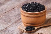 Black Sturgeon Caviar In A Wooden A Barrel