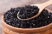 Spoon With Black Sturgeon Caviar Macro.