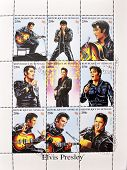 SENEGAL - CIRCA 1998: A stamp printed in Senegal shows the famous Elvis Presley series circa 1998
