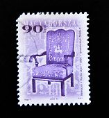 HUNGARY - CIRCA 2000: A post stamp printed in Hungary shows antique chair circa 2000