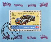 A stamp printed in Yemen shows a ford car
