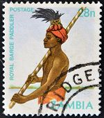 stamp printed in Zambia shows a Royal Barge Handler