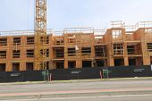 Port Coquitlam, CANADA - February 26 2014 : Brand new townhouse construction site for mosaichomes in