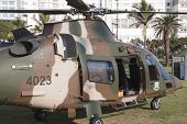 Closeup Of Military Helicopter Landed On Durban Beachfront