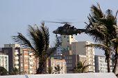 Military Helicopter Landing On Durban Beachfront