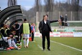 KAPOSVAR, HUNGARY - MARCH 16, 2014: Tibor Selymes (Kaposvar trainer) in action at a Hungarian Champi