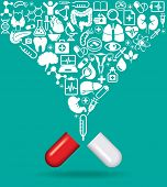 Pill with icons of human anatomy and medicine. The concept of modern medicine. The file is saved in