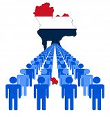 Lines of people with Thailand map flag illustration