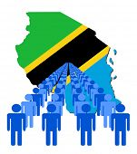 Lines of people with Tanzania map flag illustration