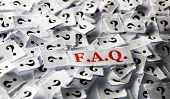 image of faq  - FAQ of question marks on white papers  - JPG