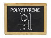 chemical formula of polystyrene on a blackboard