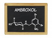 chemical formula of ambroxol on a blackboard