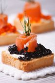 Canapes With Black Sturgeon Caviar, Smoked Salmon And Dill