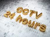 Security concept: Golden CCTV 24 hours on digital background
