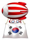 Illustration of a floating balloon with the Korean flag on a white background
