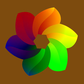 picture of six-petaled  - Abstract Colorful Raninbowy Flower with 6 Petals - JPG