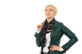 pic of ordinary woman  - Ordinary young woman in casual outfit thinking about something - JPG