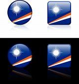 Ilhas Marshall bandeira botões em branco e fundo preto