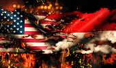Usa Indonesia National Flag War Torn Fire International Conflict 3D