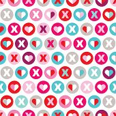 Seamless xoxo love valentine's day wedding hearts abstract illustration background pattern in vector