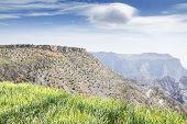 foto of jabal  - Image of landscape with meadow Jebel Akhdar Saiq Plateau in Oman  - JPG