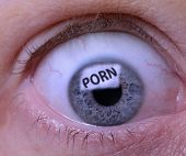 picture of pornography  - Concept of Porn addiction an eye looking at a screen of pornography - JPG