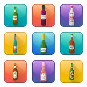 Glossy alcohol bottles icons set