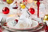 Festive table setting with Christmas decorations