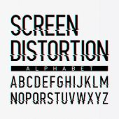 Screen distortion alphabet. Vector.