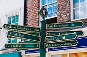 York, United Kingdom - August 9, 2014: Closeup On Tourist Sign Posts In City Of York, Uk.