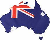 Map Of Australia With Australian Flag.