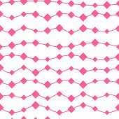 Seamless Pink Geometric Pattern With Random Squares And Horizontal Waves
