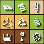Set Of 9 Flat Icons Of Renewable Energy. Eps10