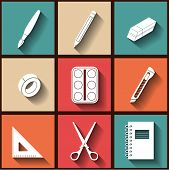 Set Of 9 Flat Icons Of Instruments For Education And Art. Eps10