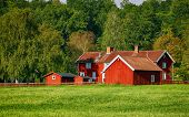 old red farm set in a rural landscape, trees and forest, Sweden