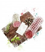 Watercolor Digital Painting Of  Hard Salami,Herbs and Spices On A Cutting Board