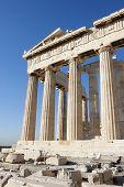 Columns Of Parthenon Temple In Athenian Acropolis