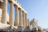 Columns Of Parthenon Temple In Athens